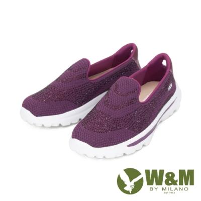 W&M (女)大圓頭亮鑽彈力厚底懶人鞋 女鞋 - 紫(另有 灰.藍)