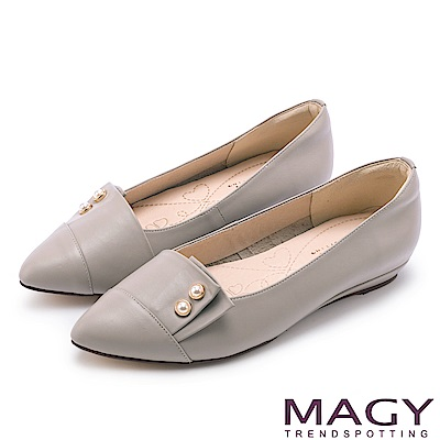 MAGY 低調時尚 特殊造型剪裁百搭尖頭平底鞋-灰色