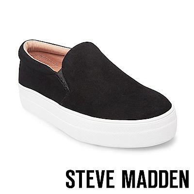 STEVE MADDEN-GILLS麂皮素面厚底懶人鞋-絨黑