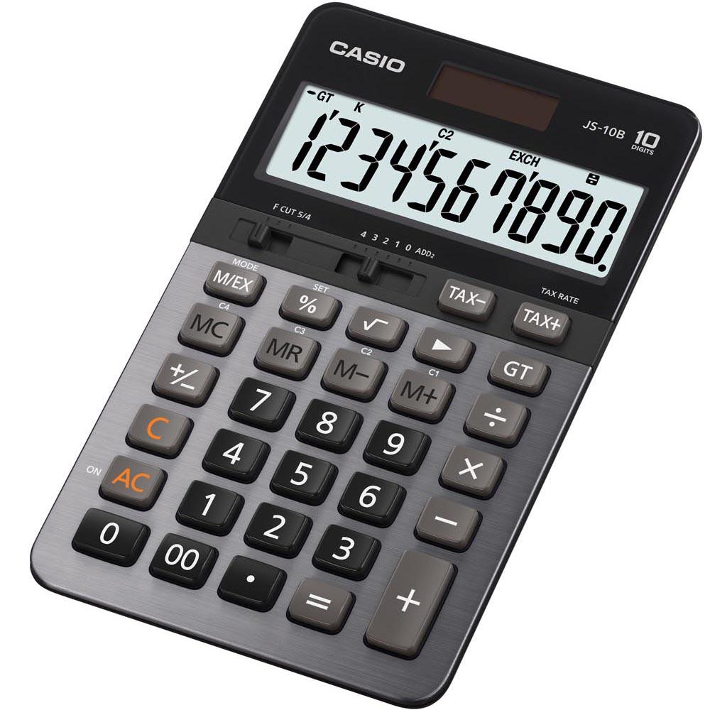 CASIO卡西歐10位數商用計算機-黑/灰 JS-10B