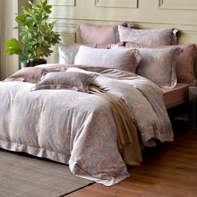 法國CASA BELLE 梵迪西 加大天絲刺繡四件式防蹣抗菌吸濕排汗兩用被床包組