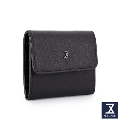 74盎司 Plain真皮壓釦雙層零錢包[N-600-PI-M]黑