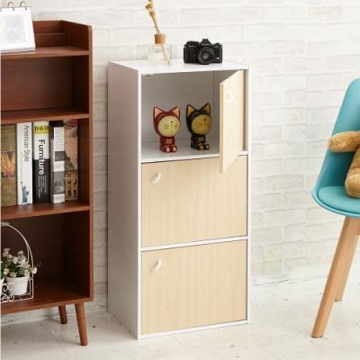 【H&R安室家】木質三門收納櫃 置物櫃BCF32