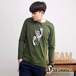 Dreamming 羽毛圖騰萊卡彈力長袖圓領T-共二色