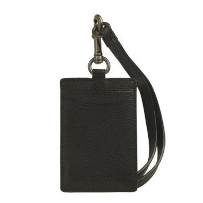 COACH 壓印LOGO軟皮皮革掛式證件套/證件夾/識別證-黑色