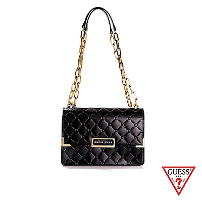 GUESS-女包-LUXE菱格壓紋鏈條肩背包-黑 原價5690