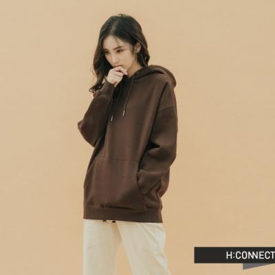 H:CONNECT 韓國品牌 女裝-純色素面抽繩帽T-棕