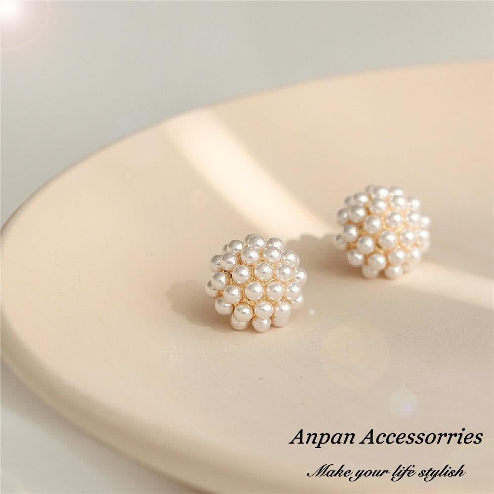 【Anpan 愛扮】韓東大門NYU小珍珠球925銀針耳釘式耳環