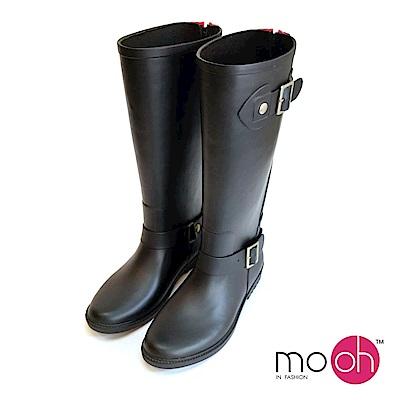 mo.oh個性搭扣後拉鏈長筒防水雨鞋-黑色