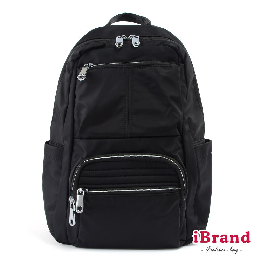 iBrand後背包 輕盈時尚多口袋尼龍後背包-黑色