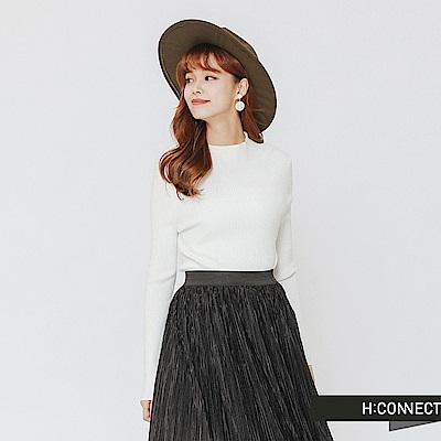H:CONNECT 韓國品牌 女裝-簡約坑條針織上衣-白
