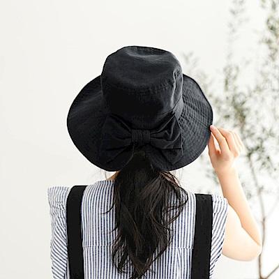日本AUBE 蝴蝶結純色抗UV遮陽帽