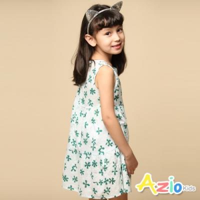 Azio 女童 洋裝 滿版幸運草無袖拉鍊洋裝(白)