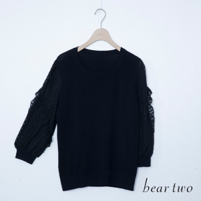 beartwo-雪紡針織上衣-黑
