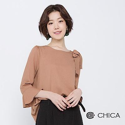 CHICA-秋日午茶氣質蝴蝶結荷葉袖上衣-2色