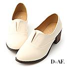 D+AF 英倫時尚.拷克線無綁帶中跟牛津鞋*米
