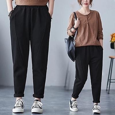 悠美學-日系簡約純色百搭造型翻折長褲-黑(M-2XL)