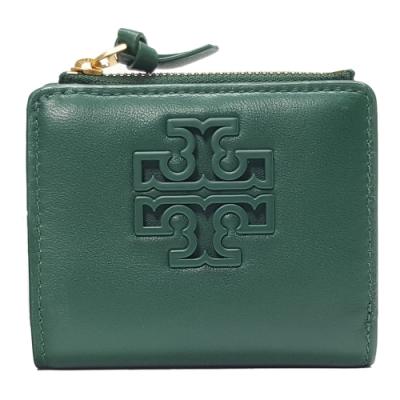 TORY BURCH LILY MINI WALLET羊皮對折短夾-深綠色