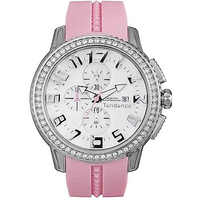 Tendence 天勢 圓弧系列水晶計時手錶-粉紅/45mm(TY016003)
