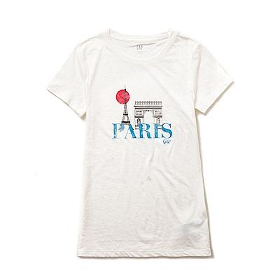 GAP 圖案文字設計短袖T恤(女)-白色
