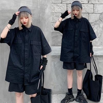 【韓國K.W.】(預購)明星款奢華素外套襯衫-2色