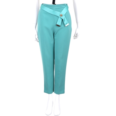 ELISABETTA FRANCHI 湖水綠可拆絲緞腰帶九分西裝褲