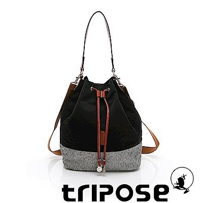 tripose 漫遊系列岩紋玩色束口水桶包 黑色