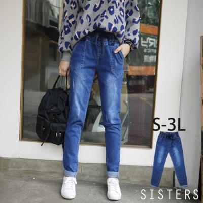 韓系刷痕抽繩鬆緊腰男友褲牛仔褲(S-3L) SISTERS