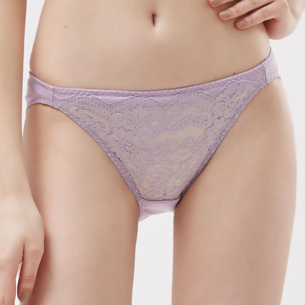 思薇爾 紫戀心系列M-XL蕾絲低腰三角內褲(迷霧紫)