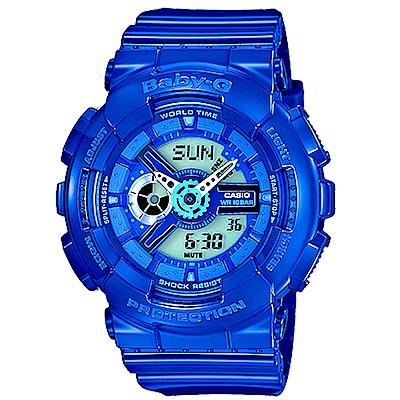 CASIO Baby-G 個性活力搶眼雙顯錶 (BA- 110 BC- 2 A)-藍/ 46 mm