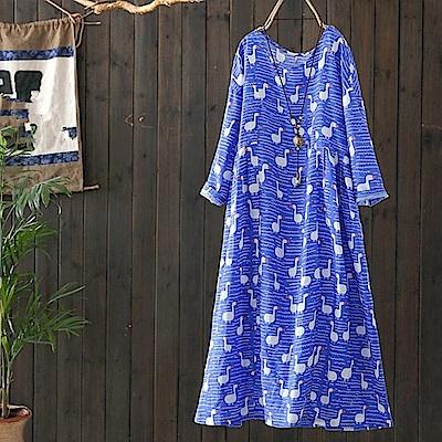 水波鴨印花苧麻長洋裝-Q2126-設計所在