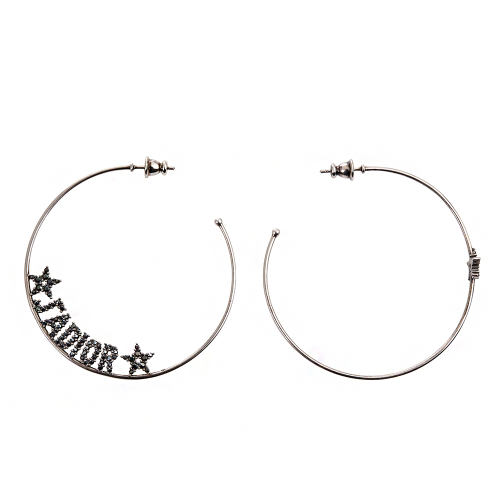 DIOR 「J Adior」圓型不對稱鑲鑽英文字母穿式耳環 (銀色)