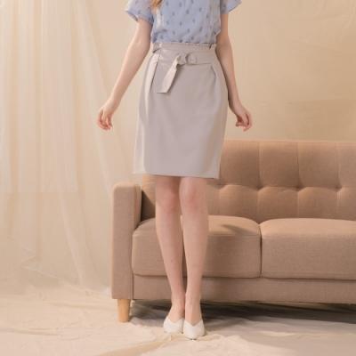 【CUMAR】簡約素面花苞-短裙(灰色/版型適中)