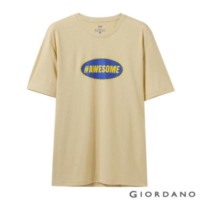 GIORDANO 男裝純棉復古刺繡印花寬版T恤-06 卵石杏