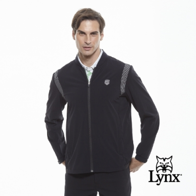【Lynx Golf】男款防潑水反光印花羅紋棒球領長袖外套-黑色