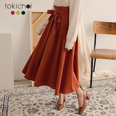 東京著衣 韓國姐姐花苞腰頭綁帶後拉鍊多色裙-S.M.L(共三色)