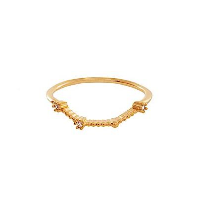 Wanderlust+Co 澳洲時尚品牌 水鑽十二星座系列 牡羊座金色戒指