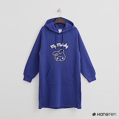 Hang Ten - 女裝 - Hello Kitty系列-立體印字長板帽T-藍