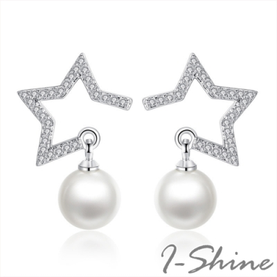 I-Shine-正白K-茫茫星光-韓國晶透五角星鑲鑽水晶珍珠造型耳針耳環DB56