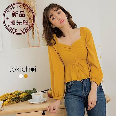 東京著衣-甜美女孩V領抓皺短版長袖上衣-S.M.L(共兩色)