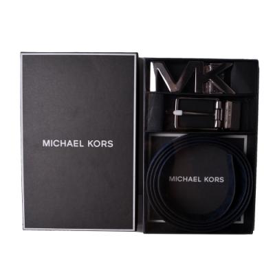 MICHAEL KORS 經典滿版x素面雙頭皮帶禮盒組-土耳其藍
