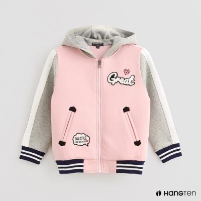 Hang Ten -童裝-配色拼接時尚印花棒球外套-灰