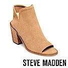 STEVE MADDEN-MAXINE魚口絨面粗跟涼鞋-絨棕