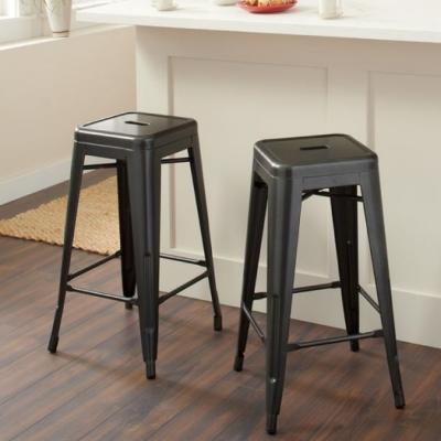 E-home Yanni亞尼工業風可堆疊金屬吧檯椅-高76cm 黑色
