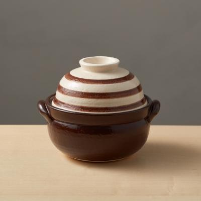 日本TAIKI太樹萬古燒 兩用蓋碗土鍋-咖啡條紋(1.1L)