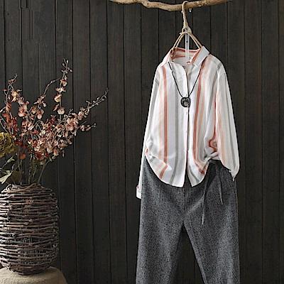 色織棉麻休閒條紋襯開衫-Y3517-設計所在