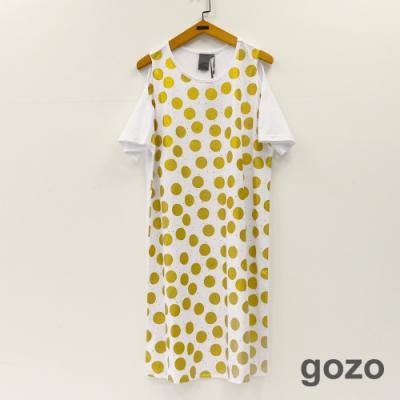 gozo 經典圓點箔印印花挖肩洋裝(二色)