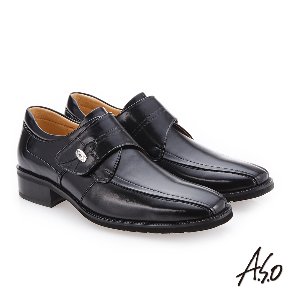 A.S.O 勁步雙核心 自黏帶款真皮鞋 黑
