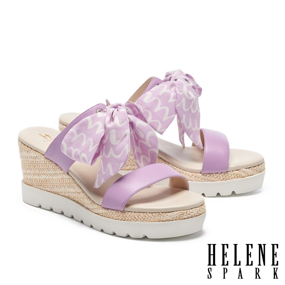 拖鞋 HELENE SPARK 盛夏風情花布羊皮楔型厚底拖鞋-紫