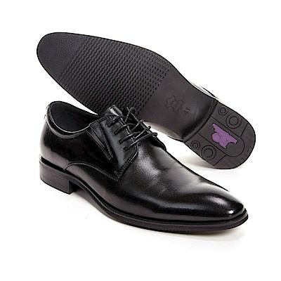 PQ 極簡素面時尚商務男皮鞋-黑